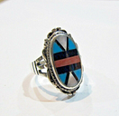 Design Western Turquoise Sterling Silver 925 Ring  Size 7