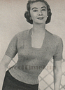 "Knitting Pattern Lady's Vintage 1950s Square Neckline Jumper. 34"" to 37"" Bust."