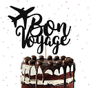 Glitter Bon Voyage Cake Topper, Farewell Party, Travel Party, Going Away Party