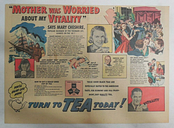 Tea Peps You Up!: Mother Was Worried About My Vitality ! 1930's 11 x 15 inches