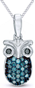 1/6 Ct Round Cut Blue and Black Natural Diamond Owl Pendant in Sterling Silver