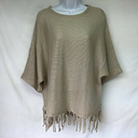 Domani Womens Poncho Top Gold Metallic Pullover Fringe Embellished Poncho NWT XL