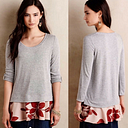Anthroplogie Little Yellow Button Layered Tunic Top - S - Gray - Floral Hem