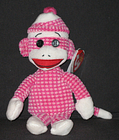 TY SOCKS the PINK QUILTED SOCK MONKEY BEANIE BABY - MINT with MINT TAGS