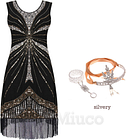 Ladys 1920s Flapper Great Gatsby Dresses Sequin Fringe Downton Abbey Party Dress