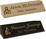 Personalized Engraved Leatherette Desk Name Plate Choice of 2 Colors