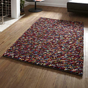 Luxurious Deep Soft Hand Knotted Pile Carpets Pebbles Wool Shaggy Rugs in Multi