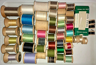 51 Assorted Colored Thread on Wooden Spools - Variety of Manufacturers