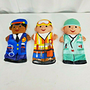 Melissa & Doug Jolly Helpers Hand Puppets Lot of 3 Doctor Construction Police