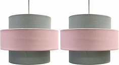 Pair of Modern Pink Grey Pink 2 Tier Easy Fit Ceiling Light Shade Pendants