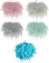 Feather Ceiling Lamp light Shade Grey White Pink Teal Sky Blue Ball Pendant