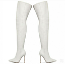 Women's Ladies Over The Knee Thigh High Stiletto Heel Pointed White Boots Shoes