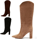 Women Suede Fabric Pull On Pointy Toe Block High Heel Mid Calf Boots Size 34-46