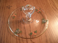 Vintage Rainbow Handpainted Glass Tidbit Dish