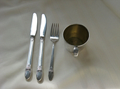 International Silverplate 1847 Rogers First Love / Baby Cup, Salad Fork, Knives
