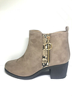 SH1* Studio Womens Taupe Zip Detail block Heel Boots SIZE UK 8