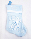 "BABY""S FIRST CHRISTMAS ~ Baby Blue Christmas Stocking Embroidered"