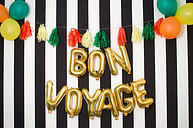 BON VOYAGE 16 Inch Letter Balloons Rose Gold Silver Leaving Party Retirement