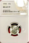 1955 roosevelt dime ngc ms-67 ft full torch
