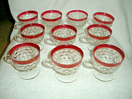 10 indiana glass ruby red diamond point cups with handles