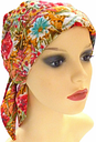 Headwear for chemo patients. Headscarf with easy fastening, front & side padding