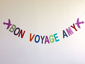 personalised customised 'bon voyage' party banner leaving do bunting decoration
