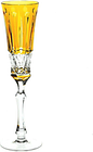 Faberge Xenia Yellow Gold Cut to Clear Crystal Champagne Wine Flute New Signed
