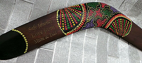 BOOMERANG Personalised Engraved Hand Painted Leaving Gifts Bon Voyage Come Back
