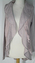 Anthropologie Knitted & Knotted Pink Gray Crocheted Back Sweater Long Cardigan M