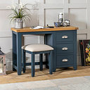 Westbury Blue Painted Pedestal Dressing Table Set with Stool - Furniture