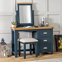 Westbury Blue Pedestal Dressing Table Set with Mirror & Stool - Furniture