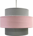 Easy Fit Light Shade Pink and Grey Design 2 Tier Ceiling Lighting Pendant