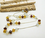 Faux Moonstone Amber Brown Crystal Bead Station Gold Tone Necklace EE29