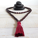 Long Beaded Natural Red Garnet Hand Knotted Necklace Boho Mala Yoga 108 Beads