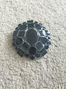Lovely black gloss geo circle square silver metal round dome pin brooch