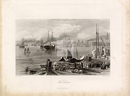 NEW ORLEANS - Coastal Landscape Print 1874 - Sail and Steam Boats #C322