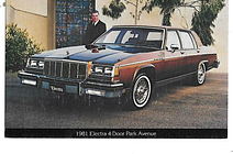 Car postcard produced by manufacturer for USA 1981 Electra Park Avenue