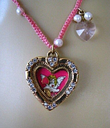 Betsey johnson vintage tea party angel heart floating charm necklace~rare