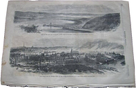 1866 quebec canada city harbor montmorency river great fire ruins engraved print