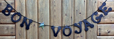Bon voyage party banner black bunting decoration