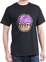Cute Purple Peace Cupcake Cartoon Design Dark T-Sh