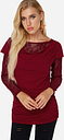 Yoins Burgundy Lace Insert Round Neck Long Sleeves Blouses