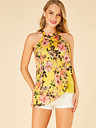YOINS Yellow Double Layer Floral Print Halter Camis