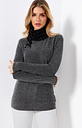Yoins Black Self-tie Design Chimney Collar Long Sleeves T-shirts With Shiny Silver Thread