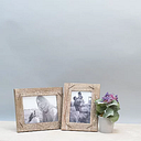 Weathered Wood Picture Frame with Staples, 5x7