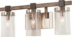 Minka Lavery Bridlewood 3-Light Bathroom Vanity Light in Stone Grey with Brushed Nickel