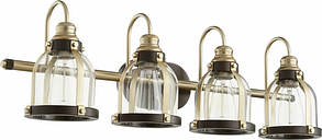 """Quorum Transitional 4-Light 10"""" Bathroom Vanity Light in Aged Brass with Oiled Bronze"""