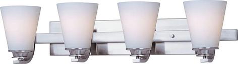 "Maxim Conical 26.25"" 4-Light Satin White Bathroom Vanity Light in Satin Nickel"