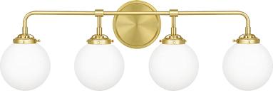 """Quoizel Landry 4-Light 32"""" Bathroom Vanity Light in Satin Brass"""
