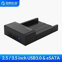 """ORICO USB 3.0 & eSATA 2.5"""" & 3.5""""SATA Hard Drive Docking Station Tool Free for 2.5 inch and 3.5 inch HDD-Black(6518SUS3-V2)"""